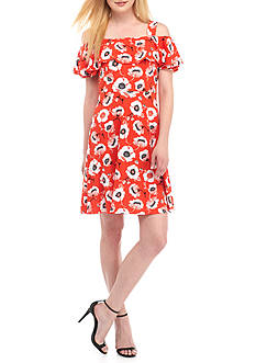 Adrianna Papell Floral Print Cold Shoulder Fit-and-Flare Dress