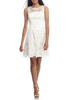 Adrianna Papell Embroidered Mesh Cocktail Dress
