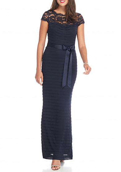 Adrianna Papell Lace Yoke Tuck Pleated Gown