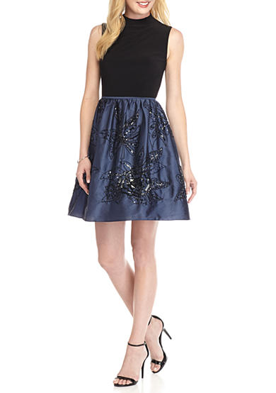 Adrianna Papell Mock-Neck Fit and Flare Dress