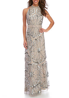 Adrianna Papell Long Beaded Halter Gown