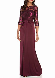 Adrianna Papell Lace and Sequin Bodice Gown