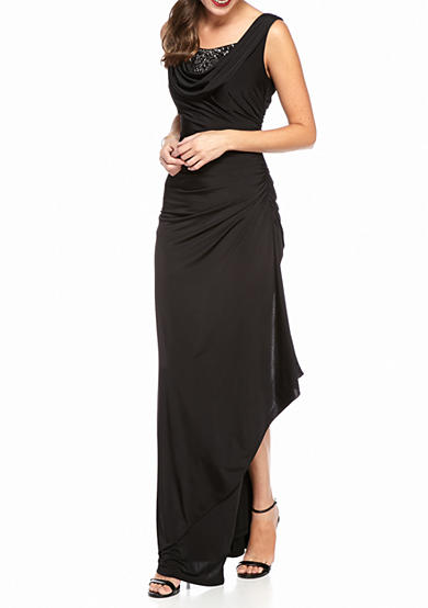 Adrianna Papell Bead Embellished Drape Neckline Gown