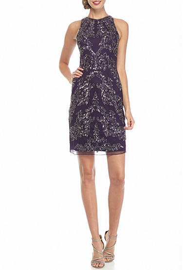 Adrianna Papell Bead and Sequin Mesh Sheath Dress