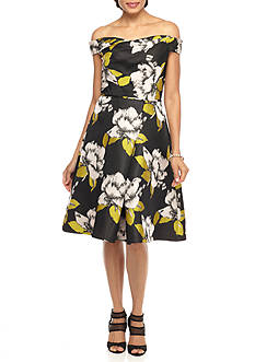 Adrianna Papell Off the Shoulder Floral Fit and Flare Dress