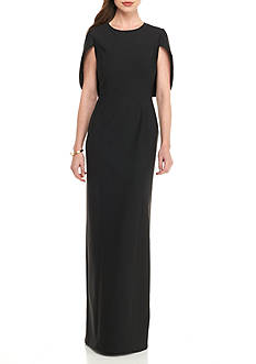 Adrianna Papell Cape Column Gown