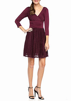 Adrianna Papell Jersey and Lace Fit and Flare Dress