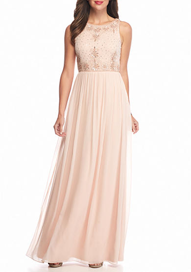 Adrianna Papell Bead and Sequin Bodice Chiffon Gown