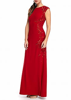 Adrianna Papell Bead and Sequin Jersey Gown