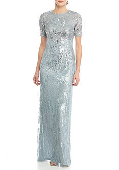 Adrianna Papell Mesh and Sequin Gown