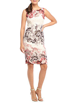 Adrianna Papell Floral Printed Bead Embellished Sheath Dress