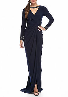 Adrianna Papell Bead Embellished Wrap Jersey Gown