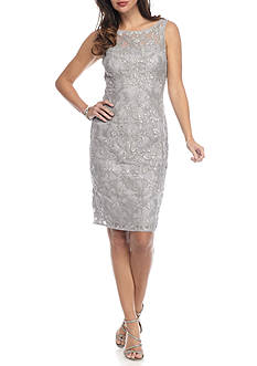Adrianna Papell Embroidered Mesh Sheath Dress with Sequin