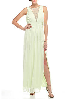 Adrianna Papell Lace Trim Chiffon Gown
