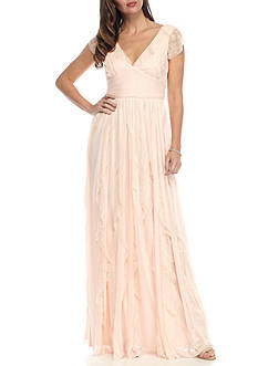 Adrianna Papell Lace Tulle Ruffle Gown