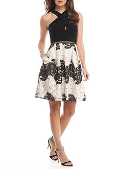 Adrianna Papell Floral Lace Fit and Flare Dress