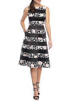 Adrianna Papell Floral Print Inset Fit and Flare Dress