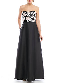 Adrianna Papell Beaded Bodice Strapless Gown