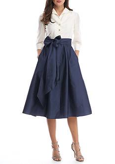 Adrianna Papell Three-Quarter Sleeve Taffetta Dress