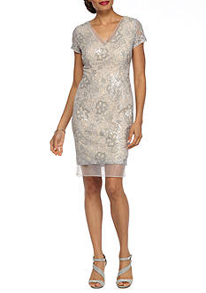 Adrianna Papell Organza Trim Lace and Sequin Sheath Dress