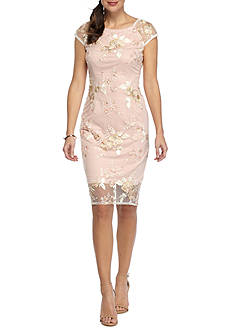Adrianna Papell Embroidered Mesh Sheath Dress