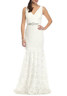 Adrianna Papell Petal Tulle Chiffon Mermaid Gown