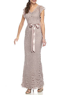 Adrianna Papell Long Lace Mermaid Gown
