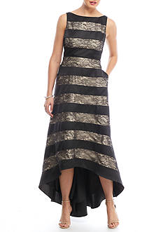 Adrianna Papell Striped Lace High Low Gown
