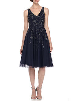 Adrianna Papell Bead and Sequin Mesh Cocktail Dress