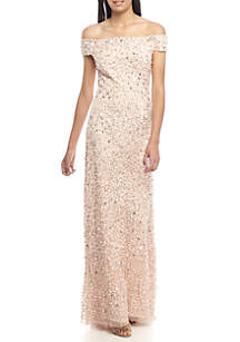 Off The Shoulder Sequin Gown