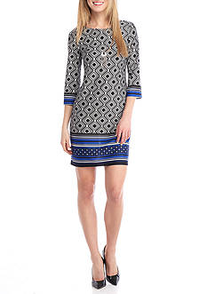 AGB Printed Jersey Shift Dress with Necklace
