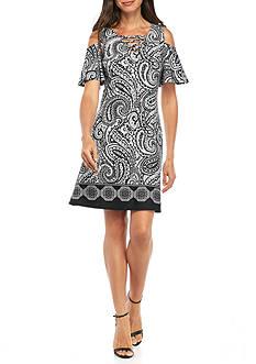 AGB Cold Shoulder Printed Shift Dress