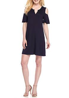 AGB Cold Shoulder Jersey Shift Dress