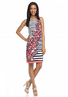 AGB Floral Striped Shift Dress