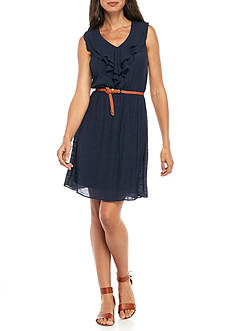 AGB Ruffle V-Neck Belted A-line Dress