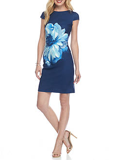 AGB Placed Floral Sheath Dress