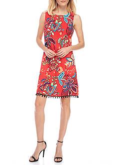 AGB Printed Floral Paisley Shift Dress