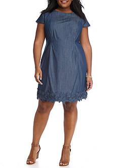 AGB Plus Size Crochet Trim Dress