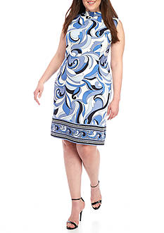AGB Plus Size Geometric Print Shift Dress