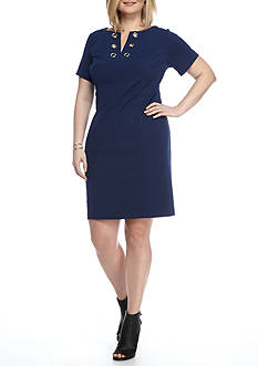 AGB Plus Size Shift Grommet Dress
