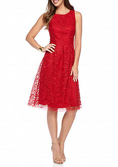 Nine West Crochet Lace Fit and Flare Dress
