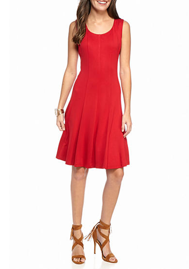 Nine West Fit and Flare Panel Dress