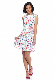 Nine West Floral Belted Fit and Flare Dress
