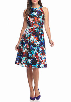Nine West Floral Printed Halter Fit and Flare Dress