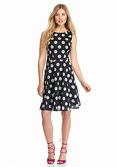Nine West Polka Dot Fit and Flare Dress