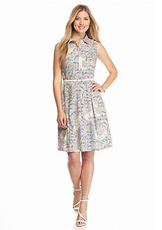 Nine West Printed Belted Shirt Dress