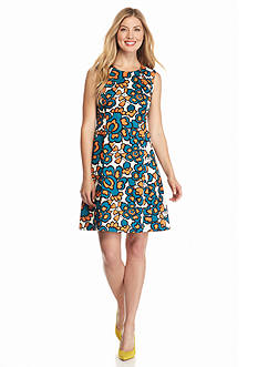 Nine West Printed Fit and Flare Dress