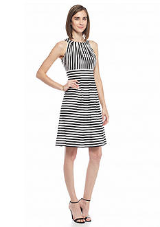 Nine West Striped Fit and Flare Dress