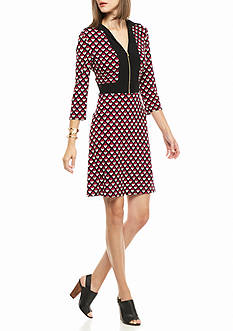 Nine West Zip Front Printed Dress