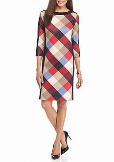 Nine West Plaid Panel Shift Dress
